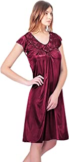 Women's Nightgowns1 Satin Silk Roses Nightgown