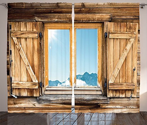 Ambesonne Shutters Curtains, Weathered Facade of a Mountain Hut Mountain Reflection in The Window Picture, Living Room Bedroom Window Drapes 2 Panel Set, 108