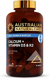 Australian NaturalCare - Bone and Muscle Health - Calcium + Vitamin D3 and K2 Tablets (60 Count)