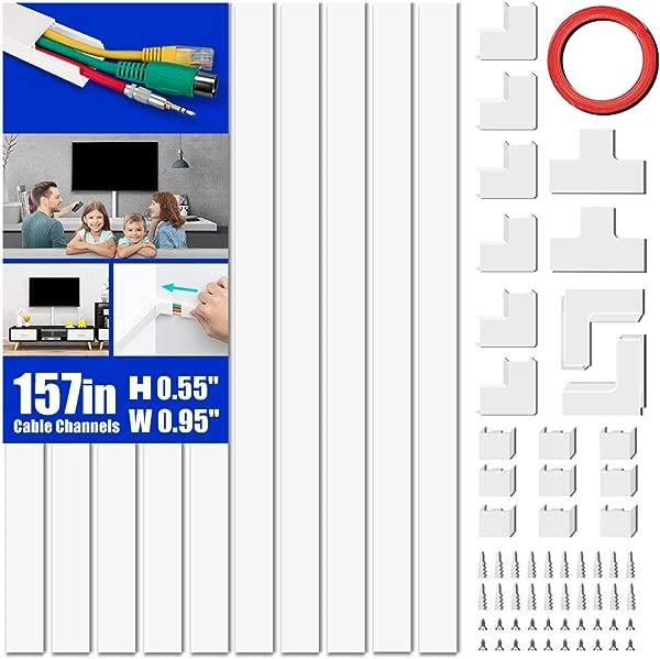 线路盖滚道套件 157 电缆管理通道彩绘线遮瑕膏系统覆盖电缆电线隐藏壁挂式电视电源线家用办公室 10X L15 7in X W0 95in X 0 55in