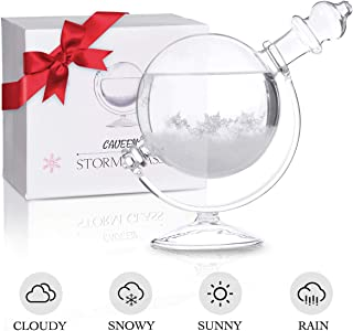 CAVEEN Storm Glass Weather Station Creative Weather Predictor Desktop Globe Storm Crystal Weather Forecaster Stylish Decorative Glass Barometer Bottle with Glass Base for Home and Office Large