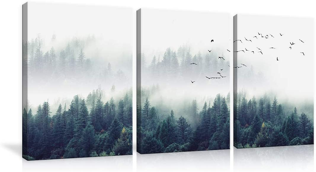 3 Piece Large Nature Forest Landscape Canvas Fore Misty Charlotte Mall Easy-to-use Wall Art