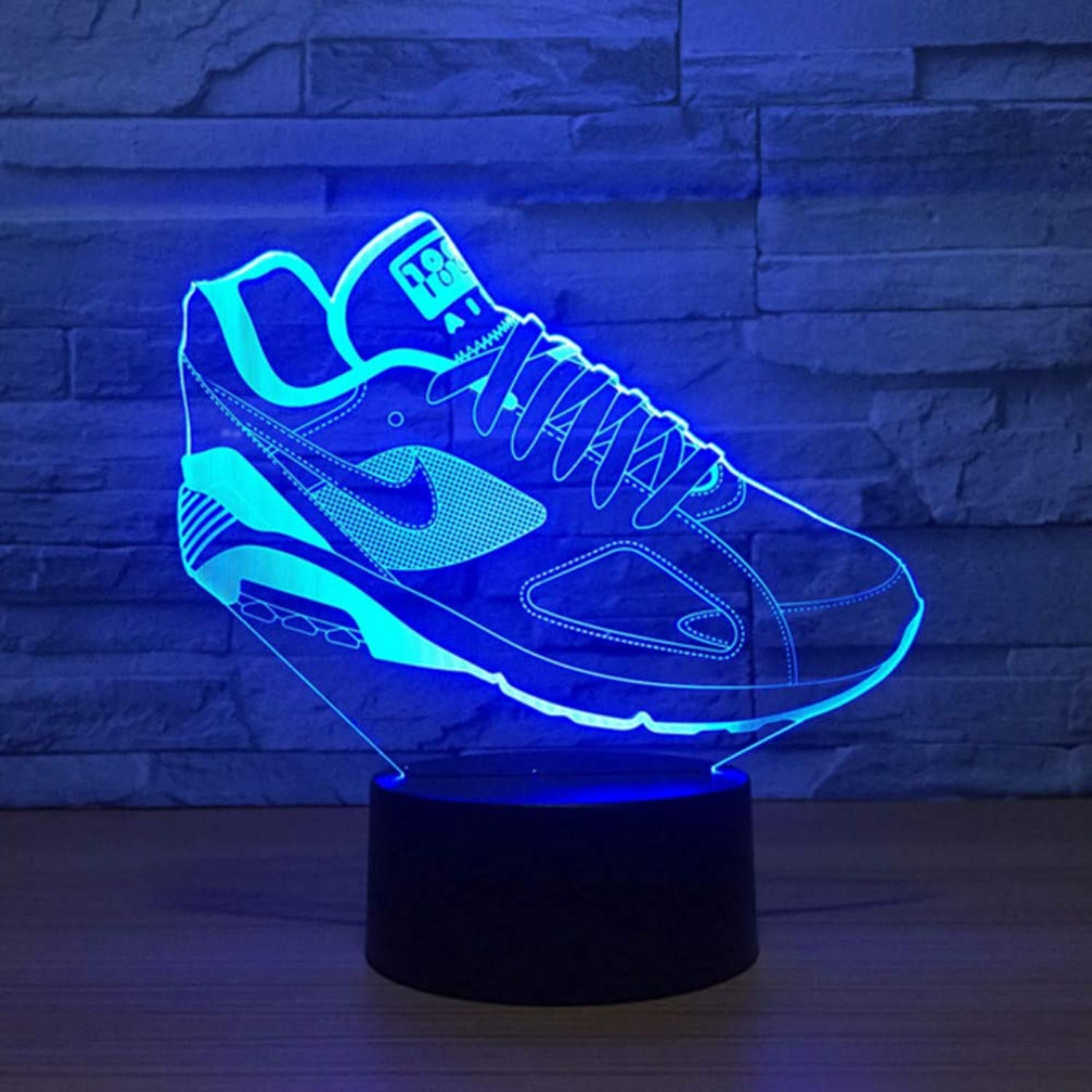 Zonxn 7 colors Change 3D Led Visual Atmosphere Lighting Decor shoes Modelling Table Lamp USB Sports Fans Touch Switch Nightlight Gifts