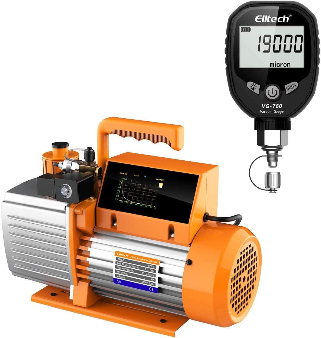 Elitech Special price for a limited time SVP-9 Vacuum Pump 9 Seasonal Wrap Introduction CFM 2 VG-760 Intelligent HVAC Stage