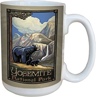 TreeFree Greetings 79474 Yosemite National Park Bears by Paul A. Lanquist Ceramic Mug with Full-Sized Handle, 15-Ounce, Multicolored