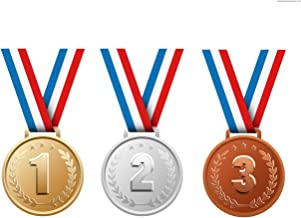 Neliblu 1st, 2nd & 3rd Place Gold Medals Bulk - Gold, Silver, and Bronze Olympic Style Award Medals Bulk Pack of 12
