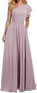 Women's One Shoulder Bridesmaid Dress Long Asymmetric Prom Evening Gown