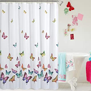 Jasion Shower Curtain Set Colorful Butterfly in Spring Waterproof Fabric Bathroom Curtains Home Bath Decor with 12 Hooks 72 X 72 Inches