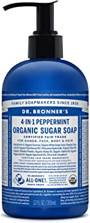 Dr. Bronner's - Organic Sugar Soap (Peppermint, 12 oz) - Made with Organic Oils, Sugar & Shikakai Powder, 4-in-1 Uses: Hands, Body, Face & Hair, Cleanses, Moisturizes & Nourishes, Vegan, Non-GMO