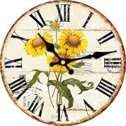 ShuaXin Yellow Sunflowers Decoration Wall Clocks,12 Inch Wooden French Country Style Wall Clock,Vintage Rustic Quality Quartz Non Ticking Wall Clock