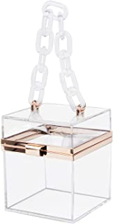 Oweisong Women Lovely Clear Square Box Clutch Handbags Acrylic Transparent Shoulder Crossbody Purse Party Dinner Evening bag