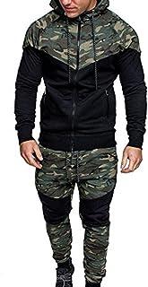 UJUNAOR Men's Autumn Winter Camouflage Sweatshirt Top Pants Sets Sports Suit Tracksuit