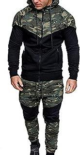 Londony Vertical Sport Men's 2 Piece Camo Hoodied Sweatshirt & Pants Slim Fit Jogging Track Suit