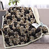 Blessliving Fuzzy Dogs Blanket for Kids Adults Black and Yellow Labrador Retriever Blanket Cute Puppy Fleece Blanket Reversible Animal Pattern Sherpa Blanket Gifts for Women (Twin, 60 x 80 Inches)