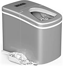 hOmeLabs Portable Ice Maker Machine for Countertop - Makes 26 lbs of Ice per 24 hours - Ice Cubes ready in 8 Minutes - Electric Ice Making Machine with Ice Scoop and 1.5 lb Ice Storage - Metallic Gray