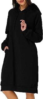 Kidsform Women's Hoodie Long Tunic Dress Solid Pullover Loose Sweater Hoodie Sweatshirt Long Tops