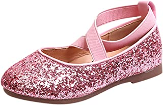 HANMAX Kids Ballet Flats Girls School Shoes Mary Jane Princess Dress Shoes with Netting Pearls