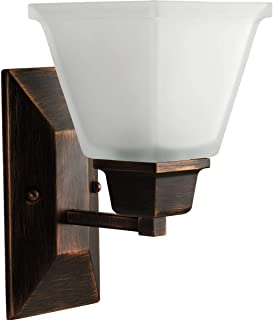 Progress Lighting P2733-74 1-Light Bath Fixture with Square Etched Glass and Can Mount Up or Down, Venetian Bronze