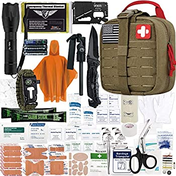 EVERLIT Survival Upgraded Survival First Aid Kit Emergency Gear Trauma Kit with 1000D Nylon Laser Cut Tactical EMT Pouch for Outdoor Camping Hunting Hiking Earthquake Home Office  Coyote Brown