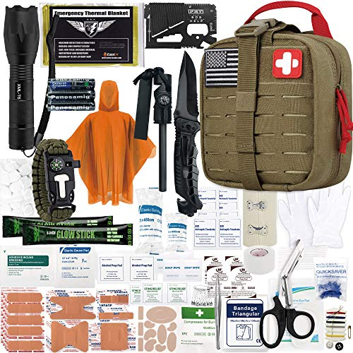 EVERLIT Survival Upgraded Survival First Aid Kit Emergency Gear Trauma Kit with 1000D Nylon Laser Cut Tactical EMT Pouch for Outdoor, Camping, Hunting, Hiking, Earthquake, Home, Office (Coyote Brown)
