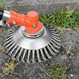 YUET 8'' Grass Strimmer Head Trimmer Brush Solid Steel Wire Wheel Garden Weed Razors Snow Island Plough Rope Mower for Lawn Rotating Replacement Tool Replacement