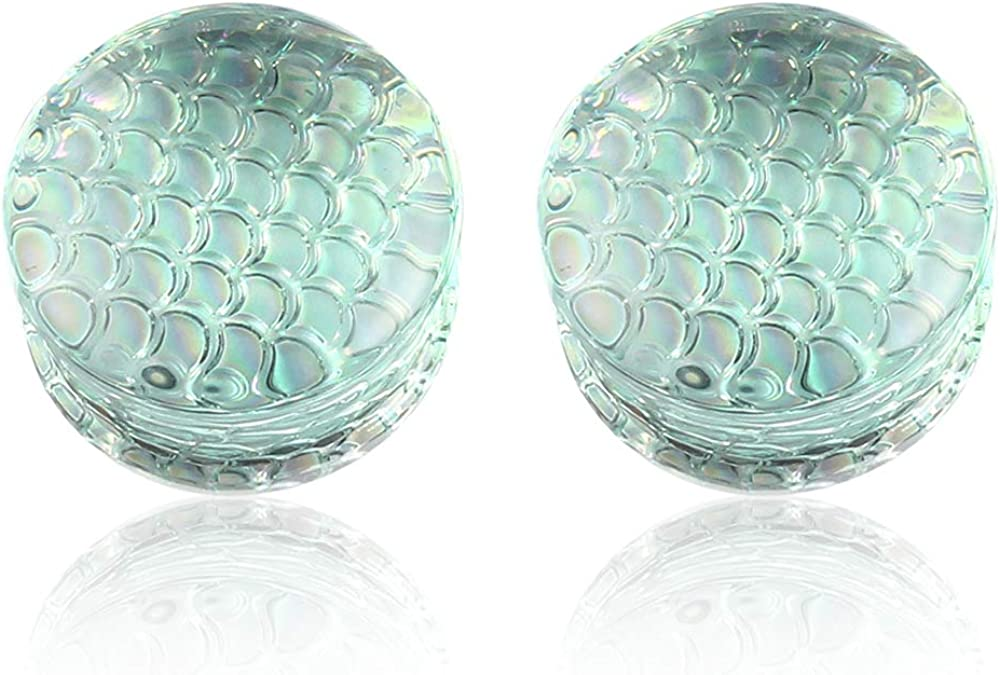 Casvort 2 PCS Glass Ear Gauges Plugs Tunnels Piercing Double Flared Expander Stretchers Body Jewelry Size 2g(6mm)- 7/8