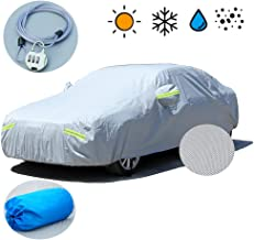 Car Cover, 6 Layers All Weather UV Protection Windproof Snow-Proof Dust-Proof Scratch Resistant Universal Full Car Covers Fit for Sedan Wagon, Durable straps and Anti-theft lock (177
