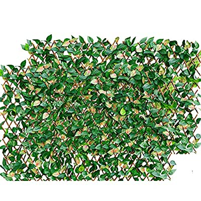 Melchef Nature Willow Trellis Expandable Plant Support Plant Climbing Lattices Trellis Willow Expandable Trellis Fence with Artificial Leaf Faux Ivy Expandable/Stretchable Privacy Fence Screen