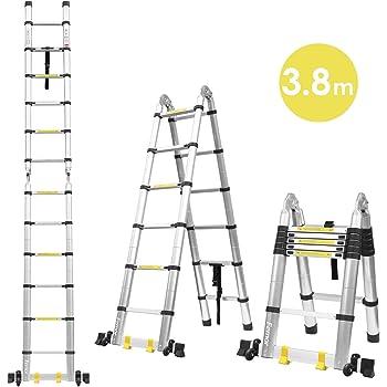 WolfWise 3,2M Escalera telescópica, Extensión telescópica de aluminio Escalera multifunción, extensible, 330 lb / 150 kg Negro: Amazon.es: Bricolaje y herramientas