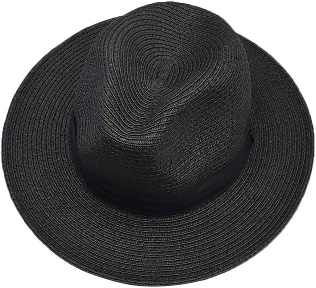 Forthery Women Straw Panama Hat Fedora Beach Sun Hat Wide Brim Straw Roll up Hat UPF 50+