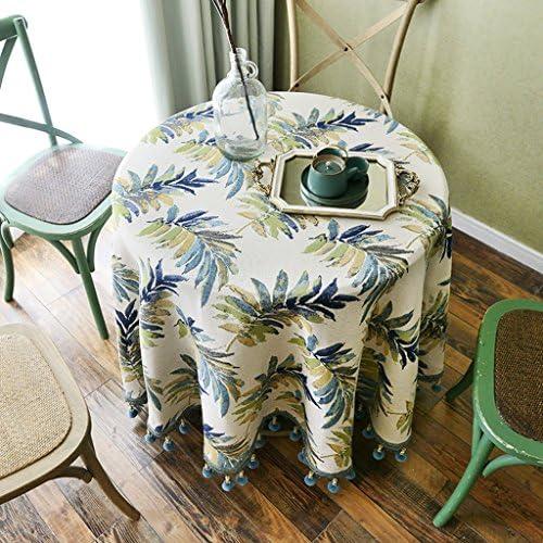 QINGTAOSHOP Blaues Pflanzenmuster Plus h ende Spitzetischdecke Baumwollleinentischdecke runde Tischdecke des amerikanischen Landhausstils des Hotels Hauptspeisetischdecke (Größe   110  170cm)