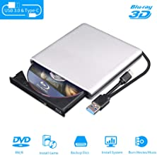 External Blu Ray DVD Drive 3D, USB 3.0 and Type-C Bluray CD DVD Burner Slim Optical Portable Blu-ray Writer for MacBook OS Windows xp/7/8/10, Linux, Laptop PC (Silver-Grey)