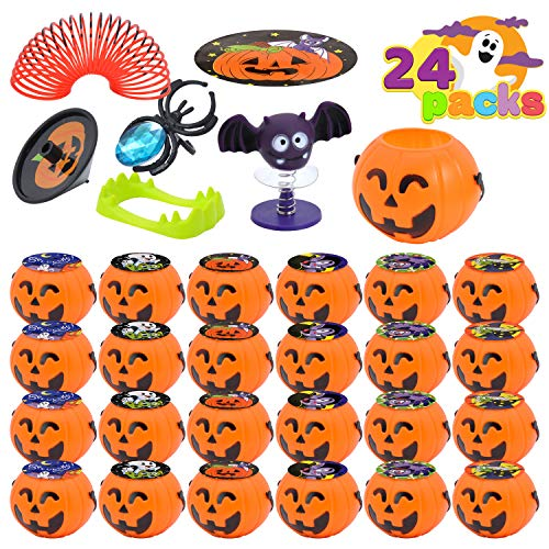 JOYIN 120 Pcs Halloween Game Toy Gifts for Kids, 24 Pack Prefilled Mini Pumpkin Buckets with Halloween Toy Spider Rings, Poppers, Spring Toys, Vampire Teeth and Spinning Tops for Kids Halloween Party Favors Trick or Treat, Halloween Gift Exchange, Carnival Game Prizes