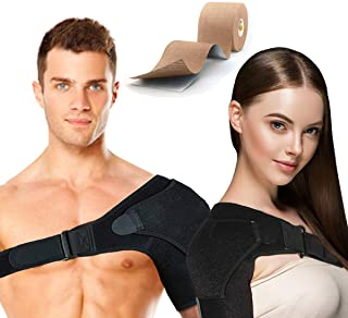 Shoulder Support Brace for Men and Women Rotator Cuff Adjustable Compression Sleeve for Dislocated AC Joint, Arthritis, Tendonitis, Injury Prevention, Fracture with Pressure Pad, Kinesiology Tape