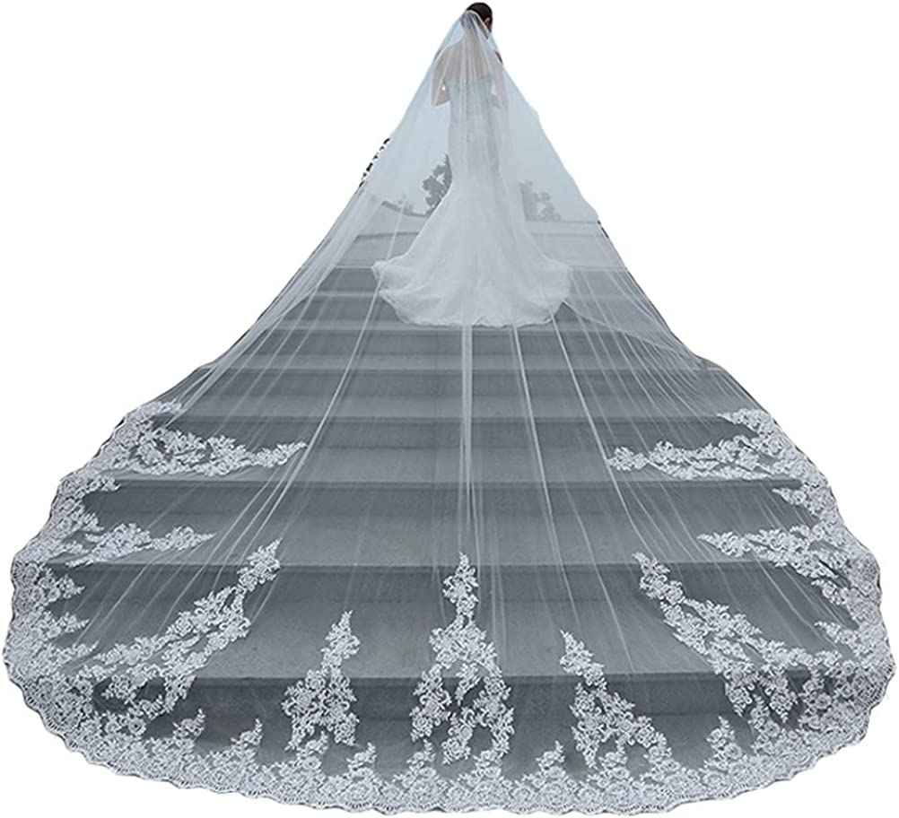 Fenghuavip 4Meters Cathedral White Wedding Veils for Bridals Long with Free Comb