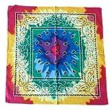 DAKIFENEY Pañuelo multicolor con teñido anudado para la cabeza del arco iris, pañuelo cuadrado floral, color 3
