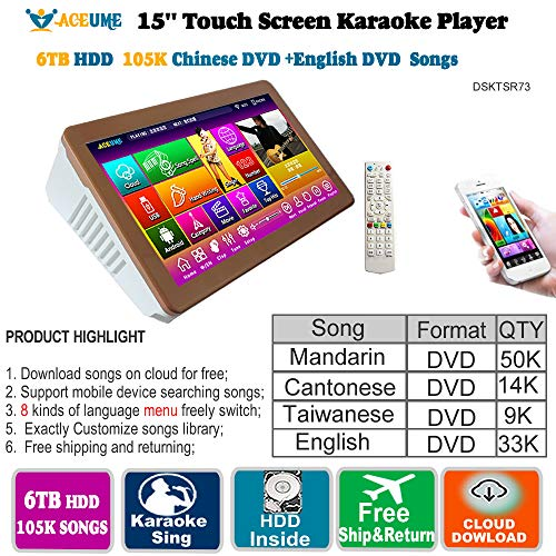 Fantastic Prices! 6TB HDD,105K Mandarin,Cantonese,Taiwanese,English DVD Songs,15''Touch Screen Karao...