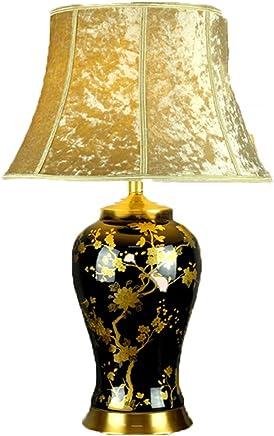 @テーブルランプ 新しい中国式セラミックテーブルランプ - アメリカの金色の花のリビングルーム、研究ホテルの寝室ランプ、高品位モデルルームの装飾ランプ (色 : B)