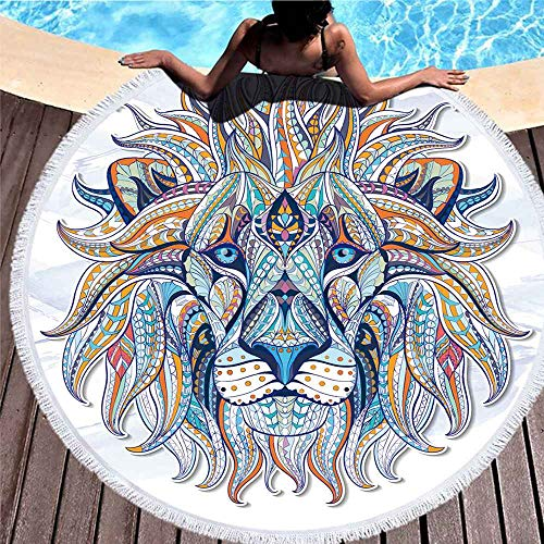 Tridietty Bohemian Lion Round Beach Towel Patterned Head of Lion African Indian Totem Tattoo Microfiber Roundie Large Beach Towel Yoga Mat Bath Towel for Adults Kids, 39 Inches