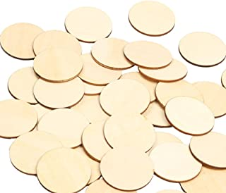 RERIVER 4336907175 2-Inch Wood Circles 50pcs Unfinished Round Blank Wooden Cutout Slices Discs DIY Crafts for Book Signing Sunday School Birthday Game Boards, 50 Piece