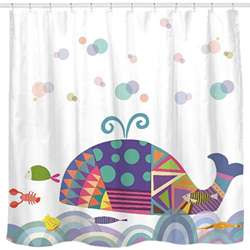 Sunlit Colorful Geometric Whale Waves Bubble Shower Curtain With Cute Marine Life Tropical Fish Shrimp