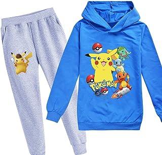 Proxiceen Pikachu Ensemble sweat à capuche et pantalon avec imprimé Pokémon 2 ensembles de pull, sweat-shirt et pantalon p...
