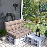 Vicco Farbvielfalt Palettensofa Palettenpolster Kissen Sofa Couch Polster Indoor Outdoor (Rückenkissen, Taupe-Grau)