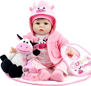 Aori Lifelike Reborn Baby Dolls 22 Inch Real Looking Weighted Reborn Doll with Pink Clothes and Cow Toy Accessories Best B...