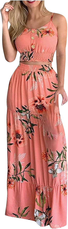 Women's 2-Piece Suit Print Casual Button Crop Top Sleevless Spaghetti Strap Pintuck Camis+ Maxi Skirt Set