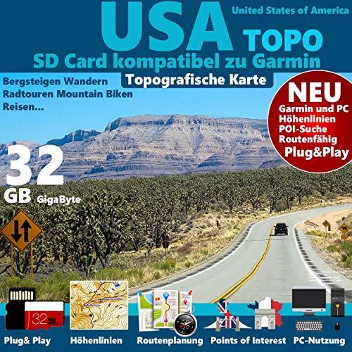 USA Garmin Karte Outdoor Topo auf 32 GB microSD. Topografische GPS Freizeitkarte OSM passend für Garmin Navi, PC und MAC -ORIGINAL Columbus Card ©