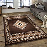 Allstar 5x7 Chocolate and Ivory Classic Navajo Machine Carved Effect Rectangular Accent Rug with Mocha and Espresso Southwestern Geometric Bordered Medallion Design (5' 2' x 7' 1')