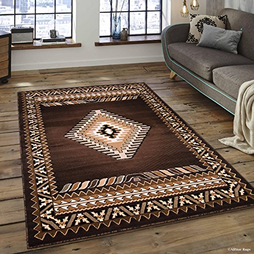 Allstar 5x7 Chocolate and Ivory Classic Navajo Machine Carved Effect Rectangular Accent Rug with Mocha and Espresso Southwestern Geometric Bordered Medallion Design (5
