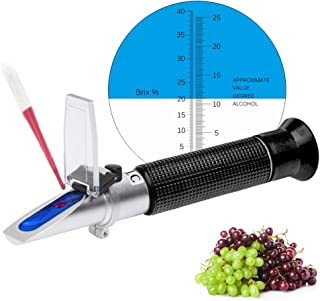 Refractometer for Grape Wine Brewing, Measuring Sugar Content in Original Grape Juice and Predicting the Wine Alcohol Degree, Dual Scale of 0-40% Brix & 0-25% vol Alcohol, Wine Making Kit