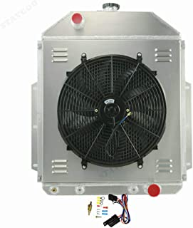 STAYCOO 4 Row Aluminum Radiator +Shroud +16 Inches Fan &Thermostat for 1942-1952 Ford F1 F2 F3 Truck Chevy Engine Conver.